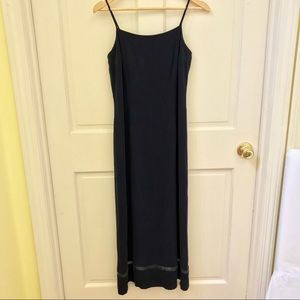 INC 100% Silk Navy Blue Camisole Maxi Dress